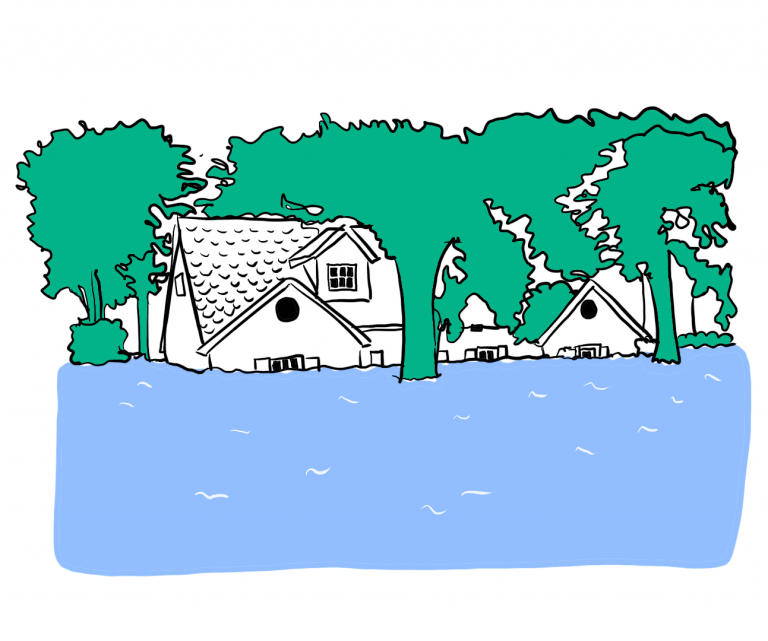 Illustration of flooded houses